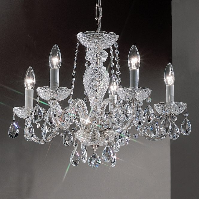 Classic Lighting Monticello 22 In 5 Light Chrome Crystal Candle Chandelier