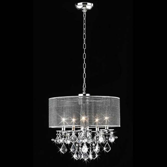 Warehouse Of Tiffany 18 In 5 Light Chrome Drum Chandelier