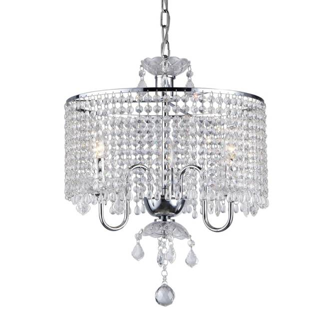 Warehouse Of Tiffany 17 In 3 Light Chrome Crystal Drum Chandelier