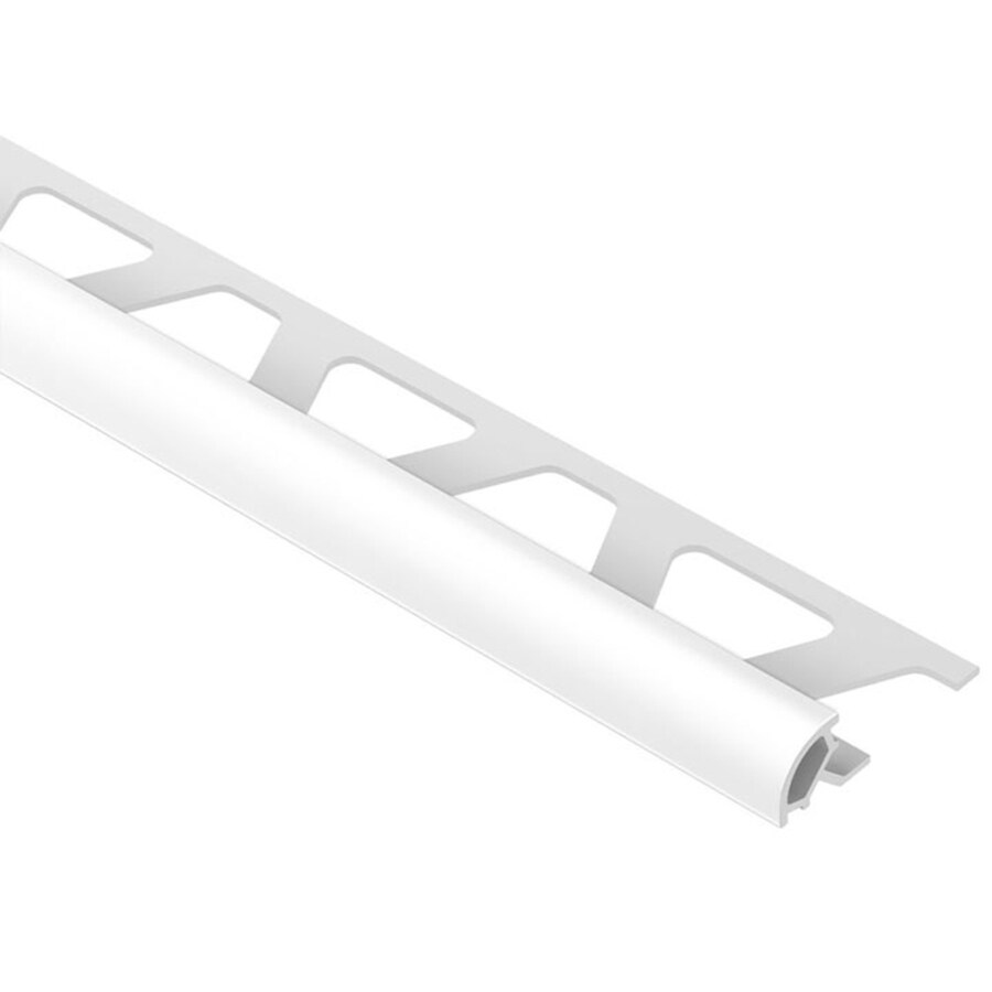 schluter systems rondec 0 375 in w x 98 5 in l bright white pvc bullnose tile edge trim