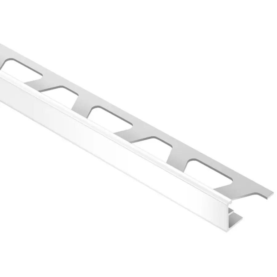 schluter systems jolly 0 375 in w x 98 5 in l bright white aluminum l angle tile edge trim