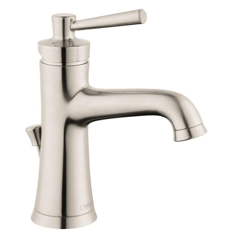 hansgrohe joleena brushed nickel 1 handle single hole watersense bathroom sink faucet with drain