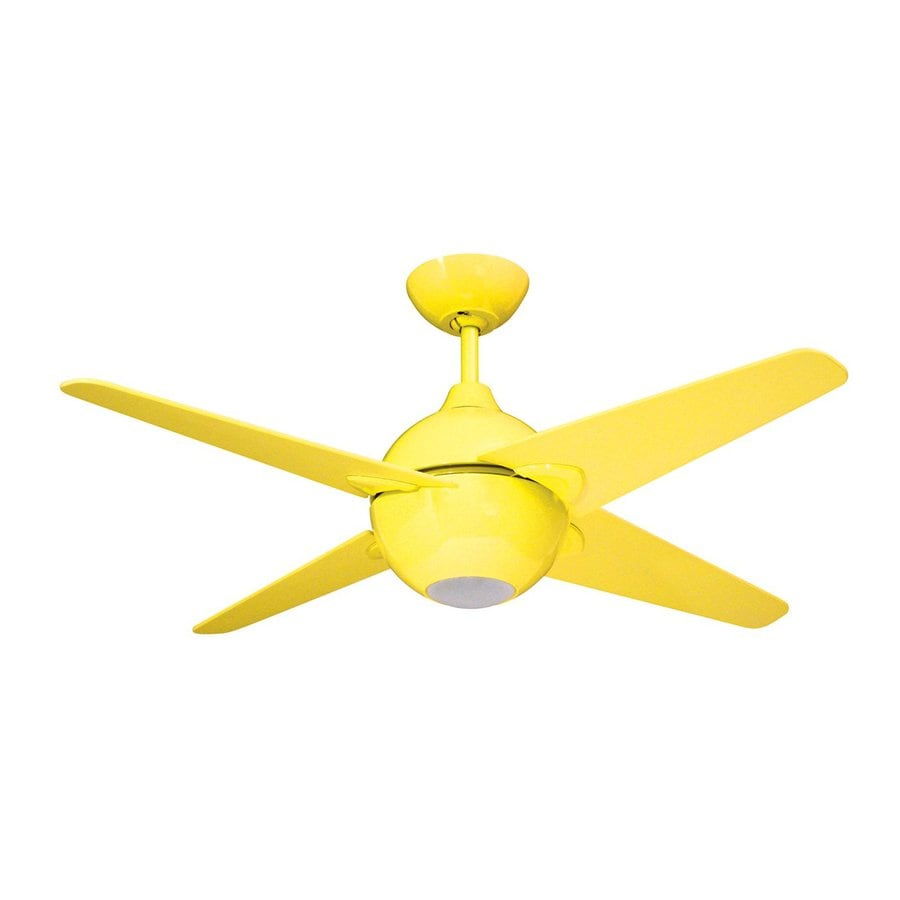 Shop Yosemite Home Decor Spectrum 42 in Yellow Indoor Downrod Mount     Yosemite Home Decor Spectrum 42 in Yellow Indoor Downrod Mount Ceiling Fan  with Light Kit