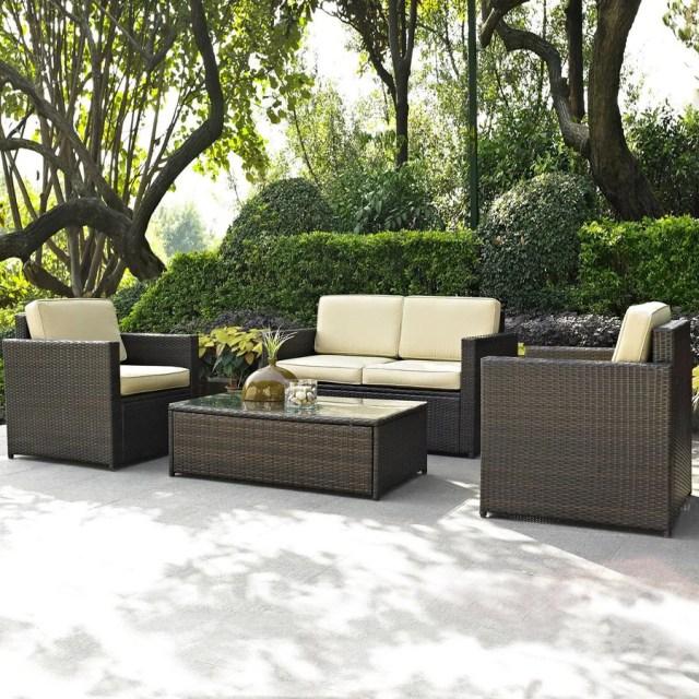 crosley furniture palm harbor 4-piece wicker patio conversation set