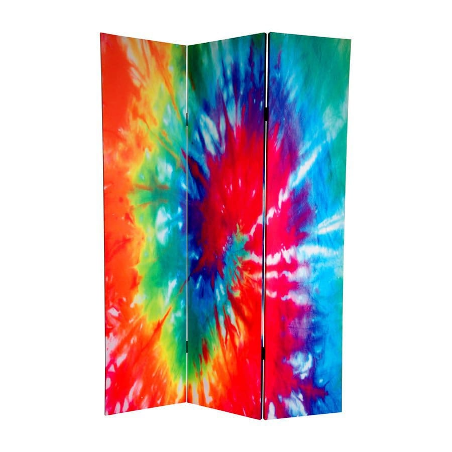 Shop Oriental Furniture Tie Dye 3 Panel Wood And Fabric