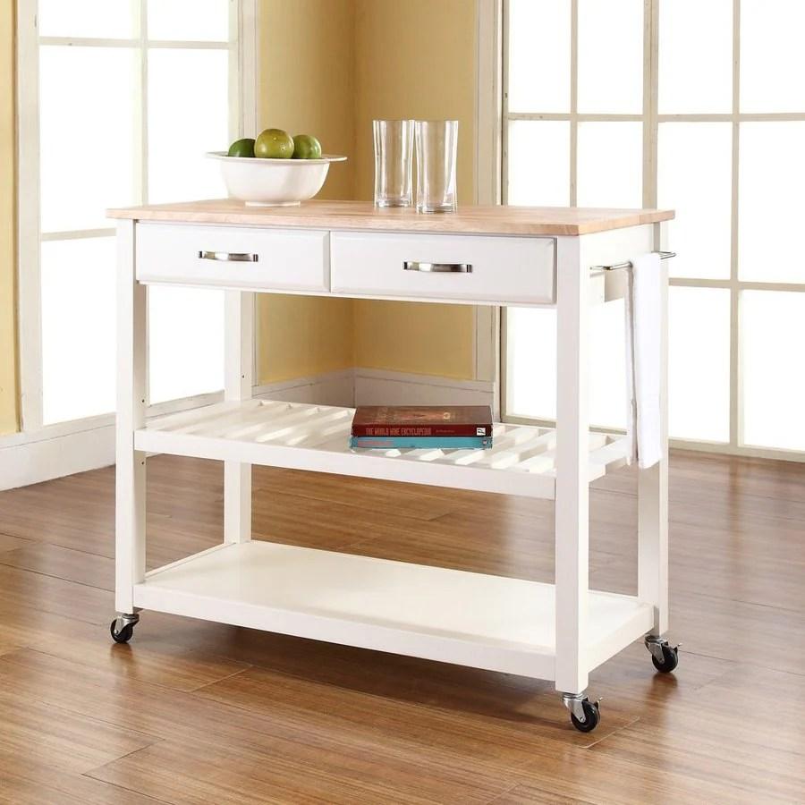 Crosley Furniture White Craftsman Kitchen Cart At