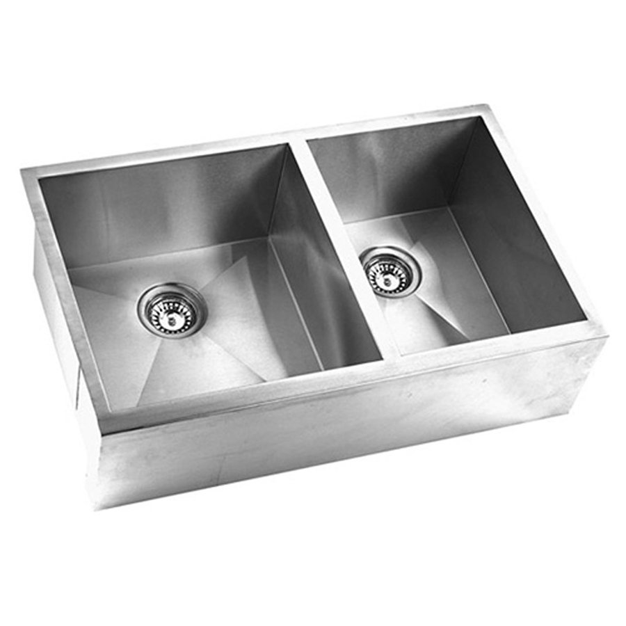 Shop Yosemite Home Decor 33 In X 205 In Satin Stainless Steel Double Basin Stainless Steel