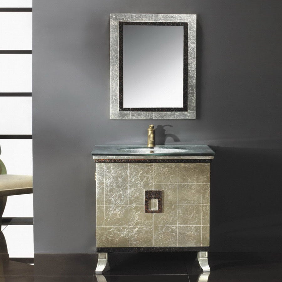 Shop Yosemite Home Decor 30 in Metallic Gold Contemporary Single     Yosemite Home Decor 30 in Metallic Gold Contemporary Single Sink Bathroom  Vanity with Top