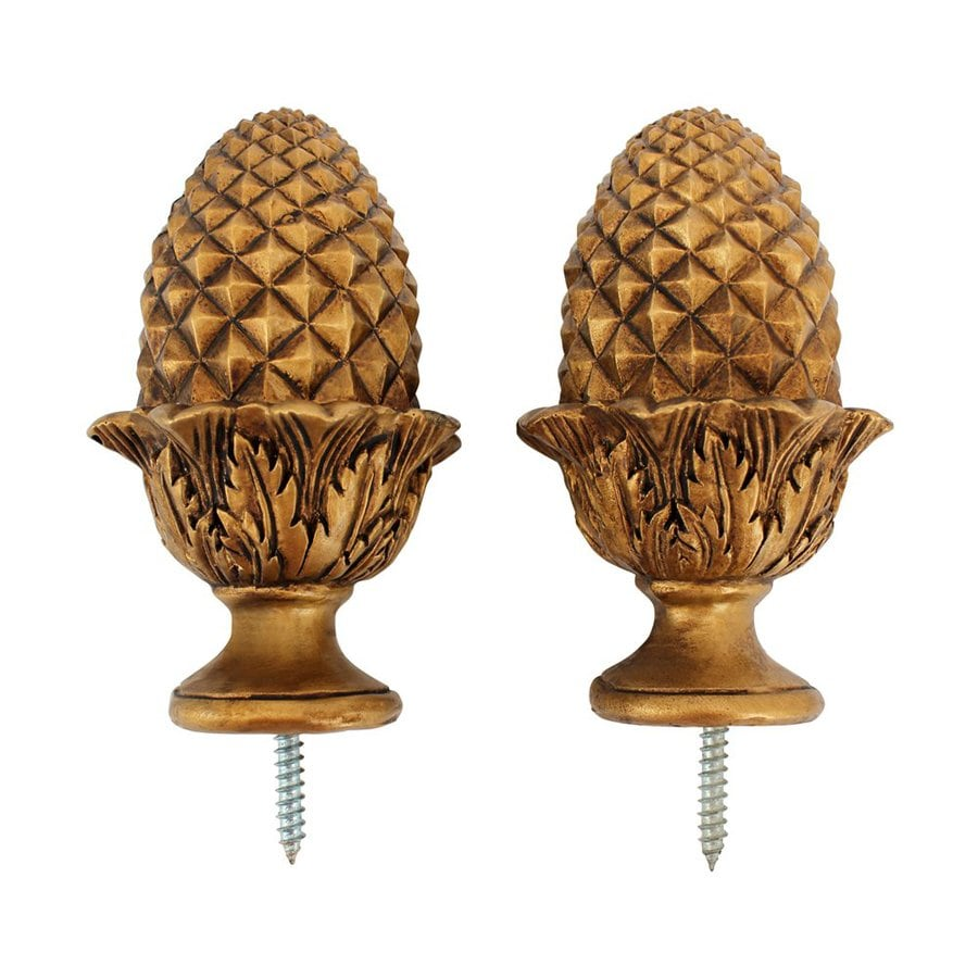 pack gold wood curtain rod finials