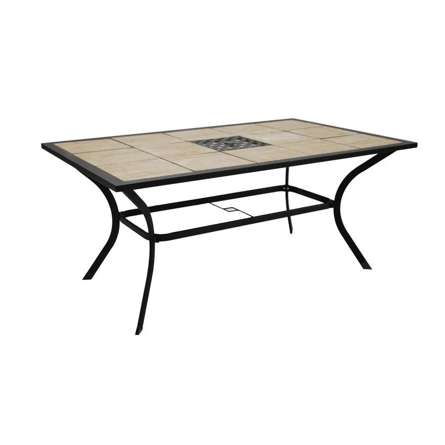 garden treasures eastmoreland tile top brown rectangle patio dining table