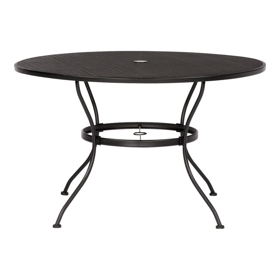 garden treasures davenport round outdoor dining table 45 in w x 45 in l with umbrella hole