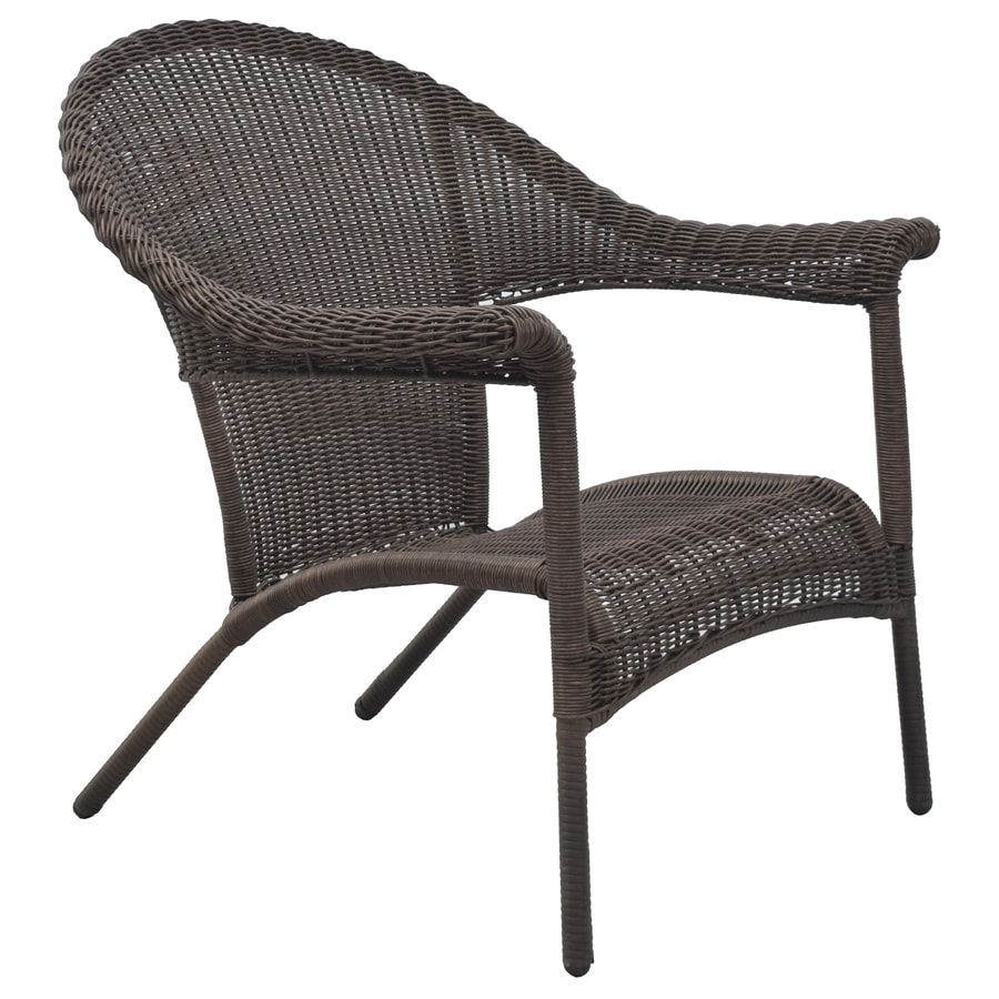 style selections valleydale woven stackable black metal frame stationary adirondack chair s with woven seat