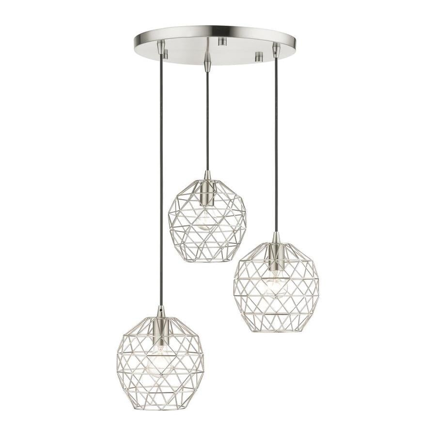 livex lighting geometrix brushed nickel industrial geometric pendant light