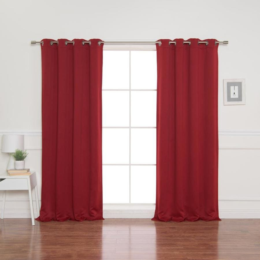 best home fashion 54 in cardinal red polyester blackout grommet curtain panel pair in the curtains drapes department at lowes com