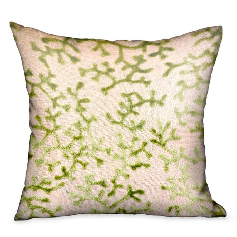 plutus brands sage reef 18 in x 18 in apple green 72 polyester 28 viscose square indoor decorative pillow