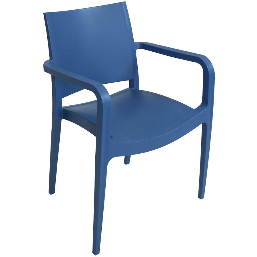 sunnydaze decor stackable blue plastic frame stationary dining chair s with solid seat