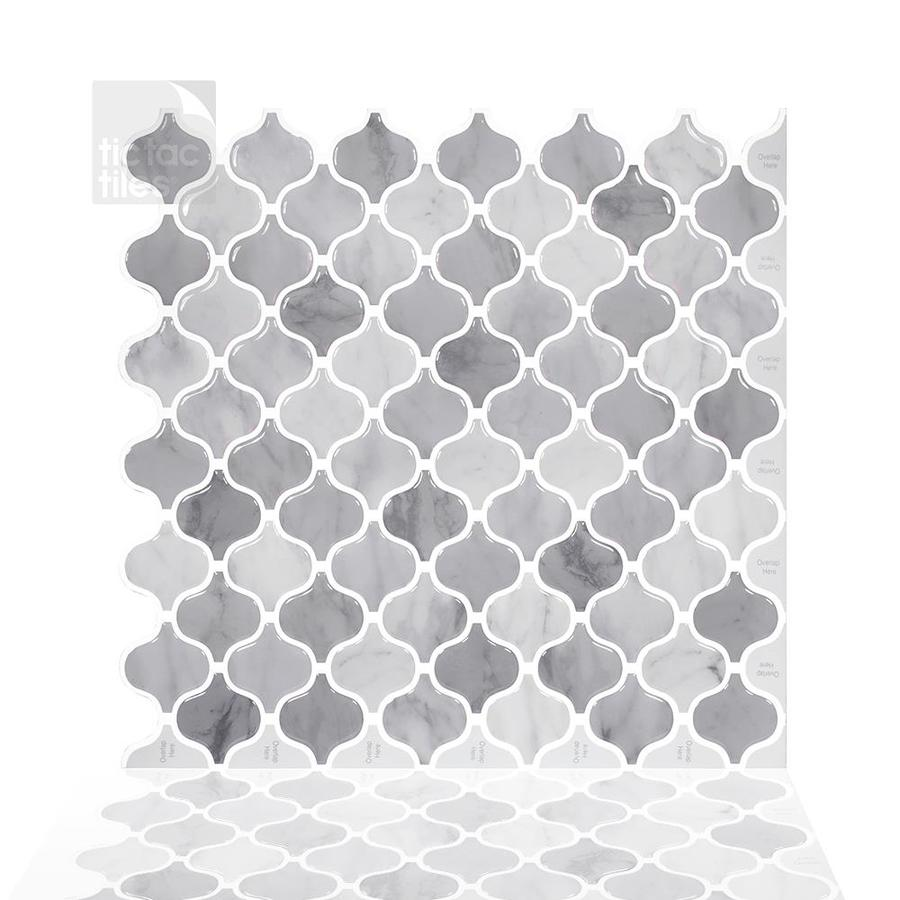 tic tac tiles damask 5 pack grey white 12 in x 12 in glossy pvc versailles patterned peel and stick wall tile