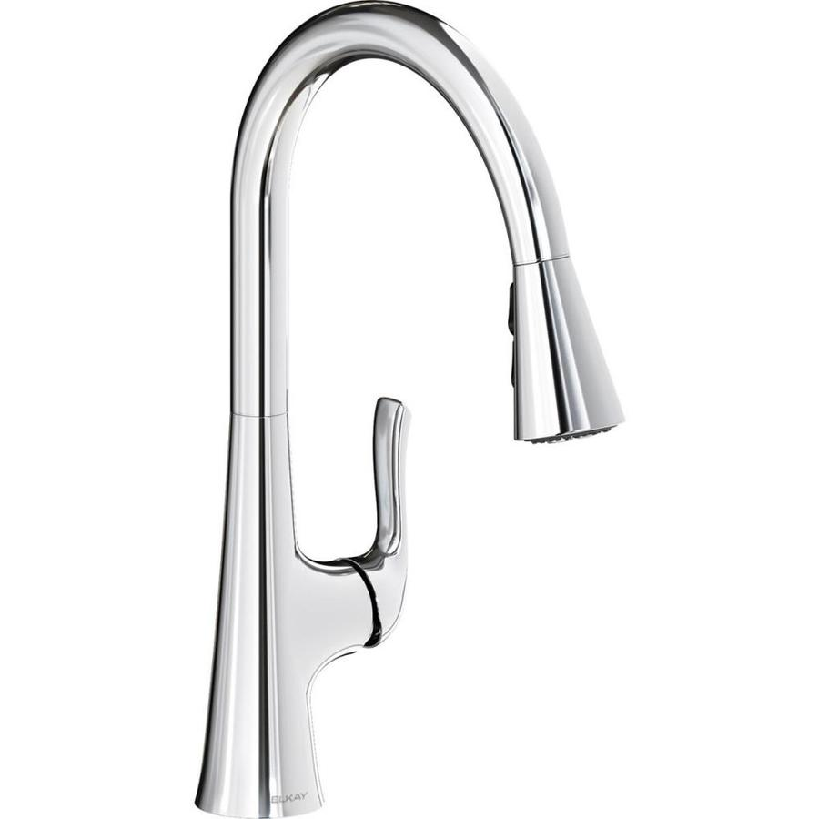 https www lowes com pd elkay harmony single hole kitchen faucet with pull down spray and forward only lever handle chrome 5000310589