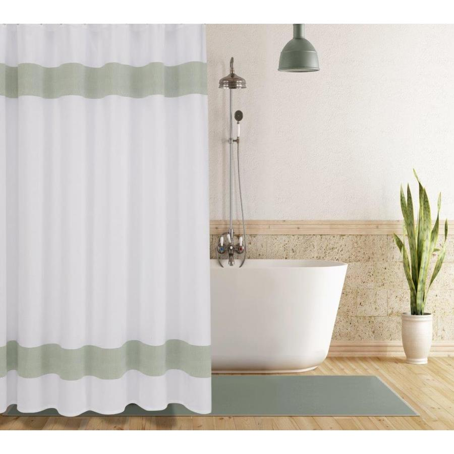 enchante home 72 in cotton green solid shower curtain lowes com