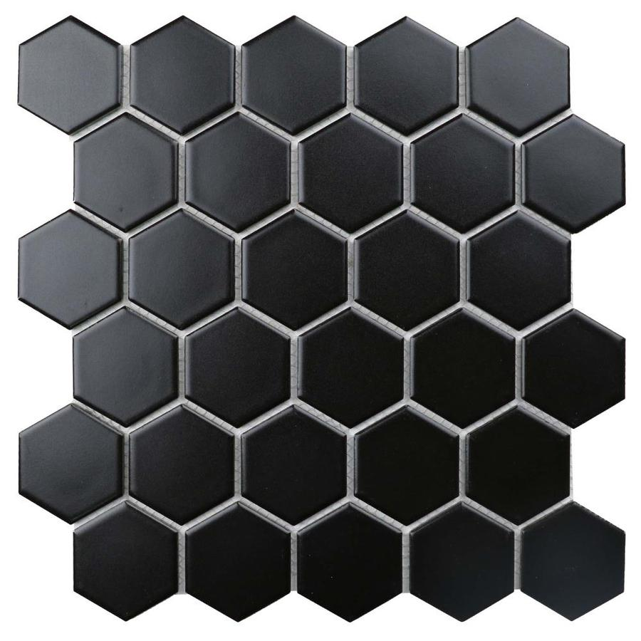 ws tiles porcelain perfection series 11 pack black 11 in x 11 in matte porcelain hexagon floor and wall tile