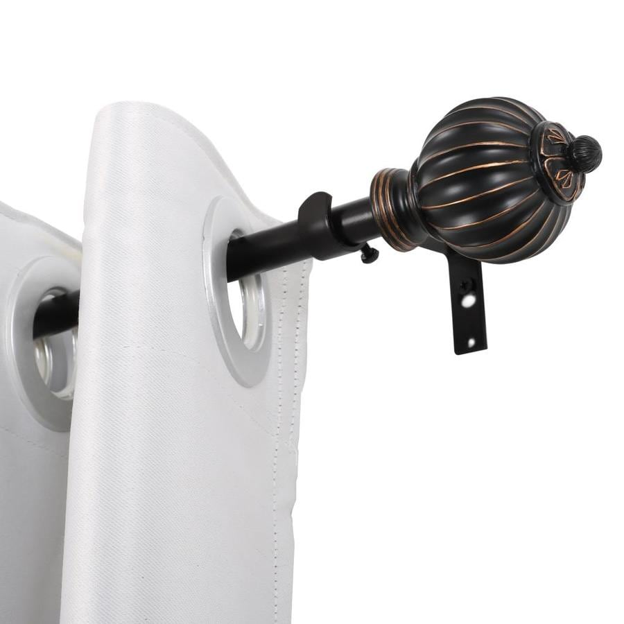 utopia alley 86 in to 120 in antique black iron single curtain rod with finials
