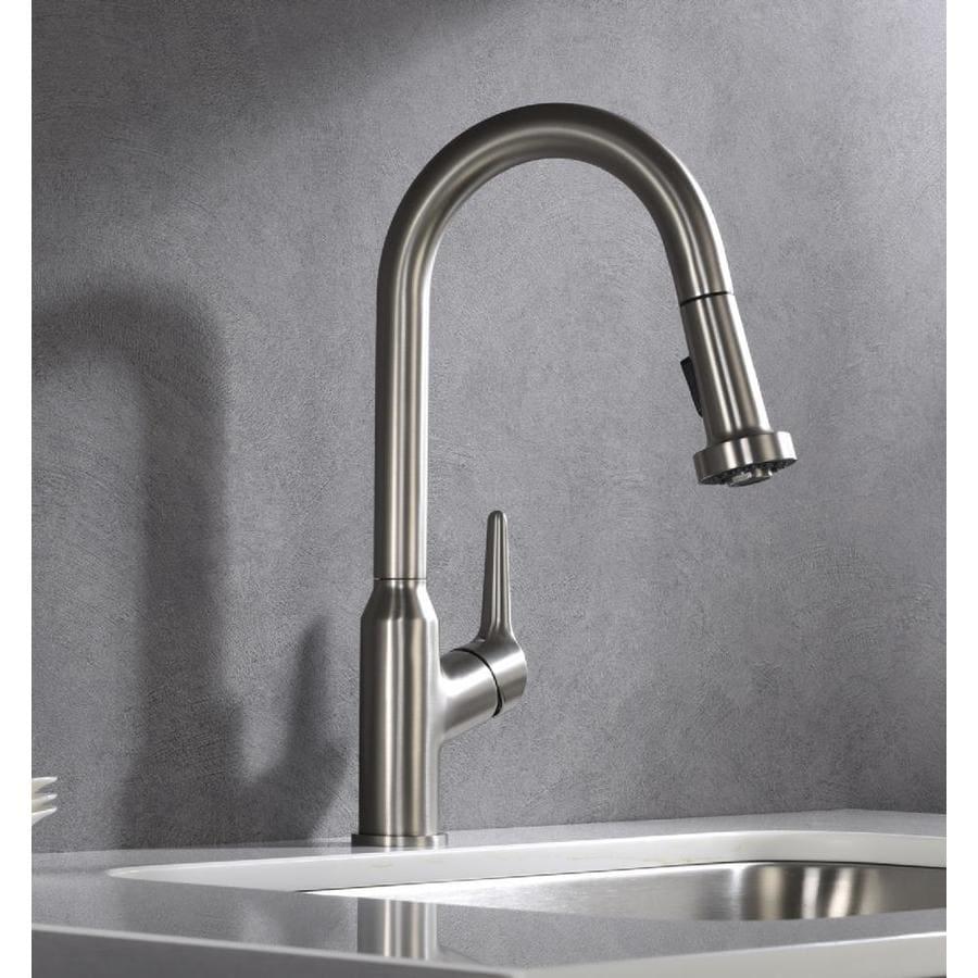 karran dockton stainless steel 1 handle deck mount pull down handle kitchen faucet
