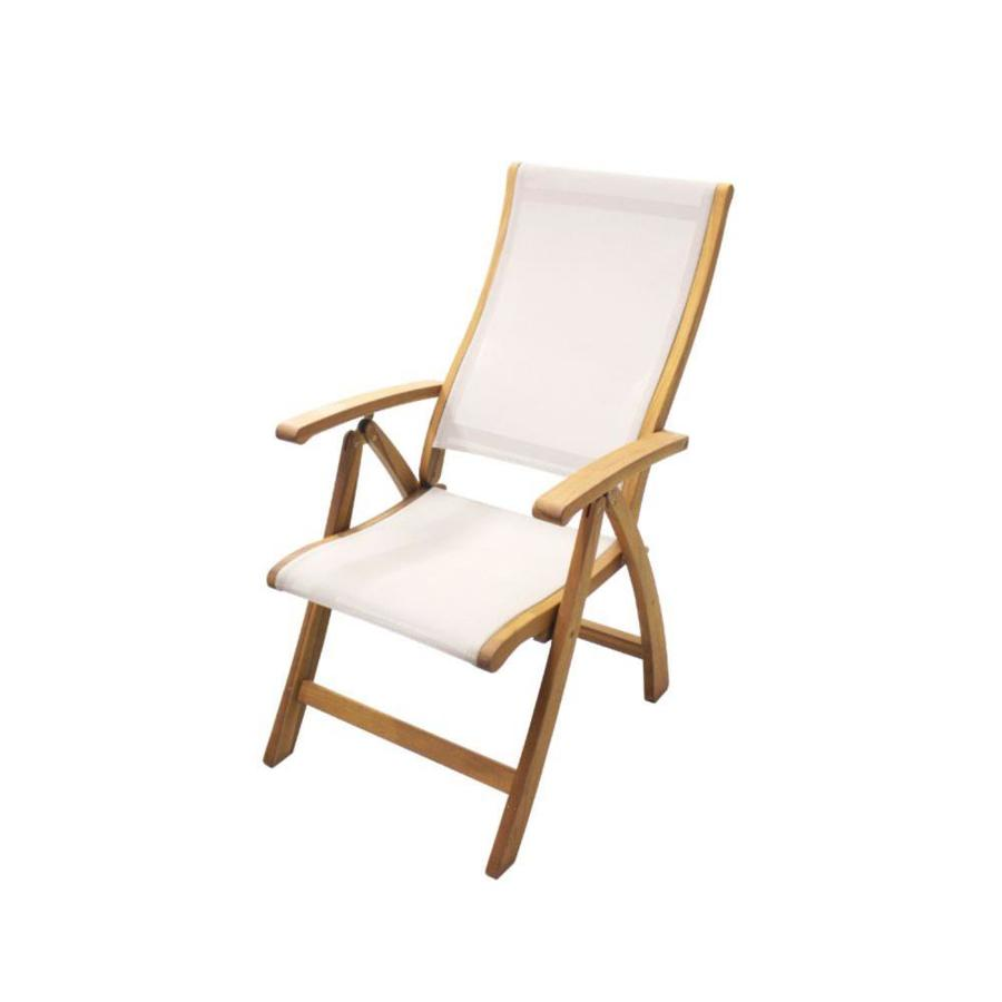 courtyard casual heritage natural wood frame stationary recliner chair s with cream sling seat