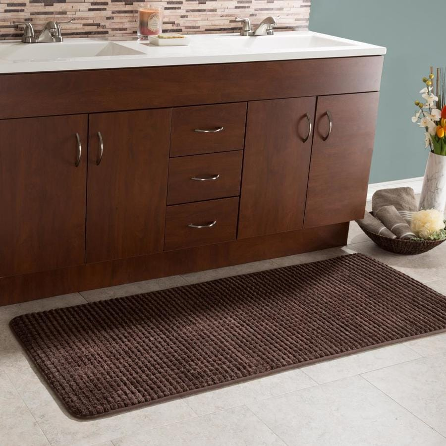 hastings home 24 inx59 in memory foam extra long bath mat by hastings home woven jacquard fleece chocolate in the bathroom rugs shower mats department at lowes com
