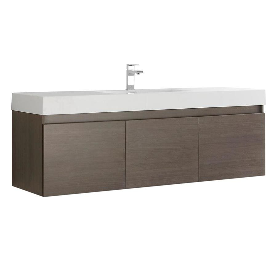 fresca mezzo 59 in gray oak single sink bathroom vanity with white acrylic top in the bathroom vanities with tops department at lowes com