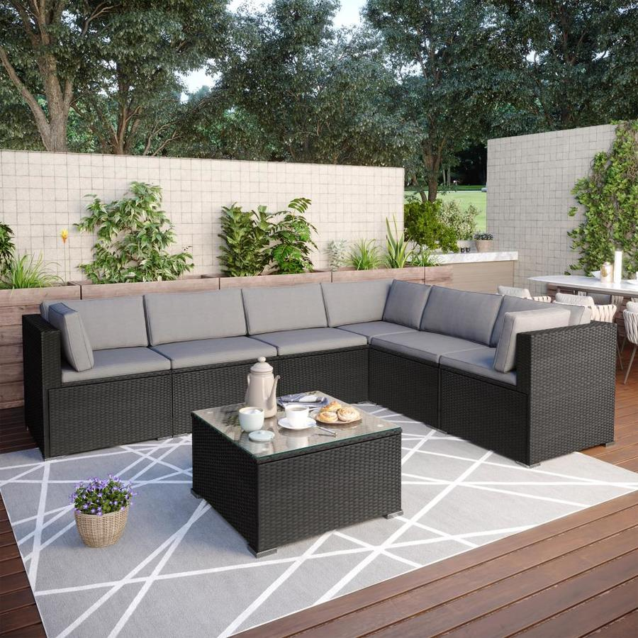 clihome outdoor furniture 7 piece metal frame patio conversation set with cushion s included