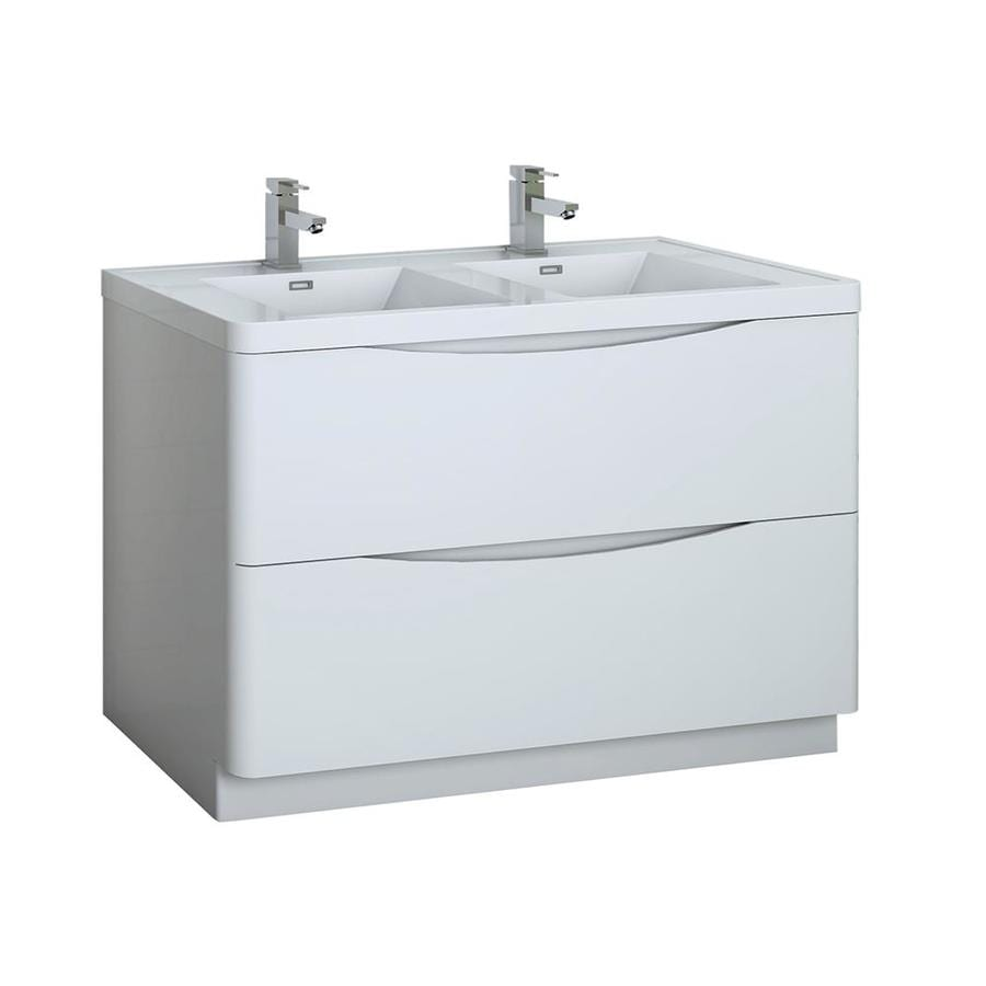 fresca tuscany 48 in glossy white double sink bathroom vanity with white acrylic top
