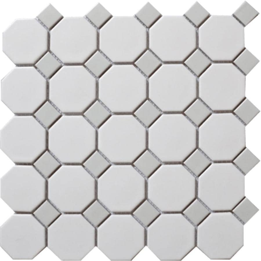 splash mosaic tile cascade 5 pack white and gray 12 in x 12 in glazed porcelain octagon dot floor and wall tile