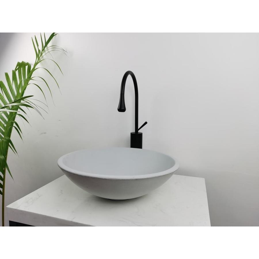 kante ctss04gy natural concrete cement vessel round bathroom sink 16 3 in x 16 3 in