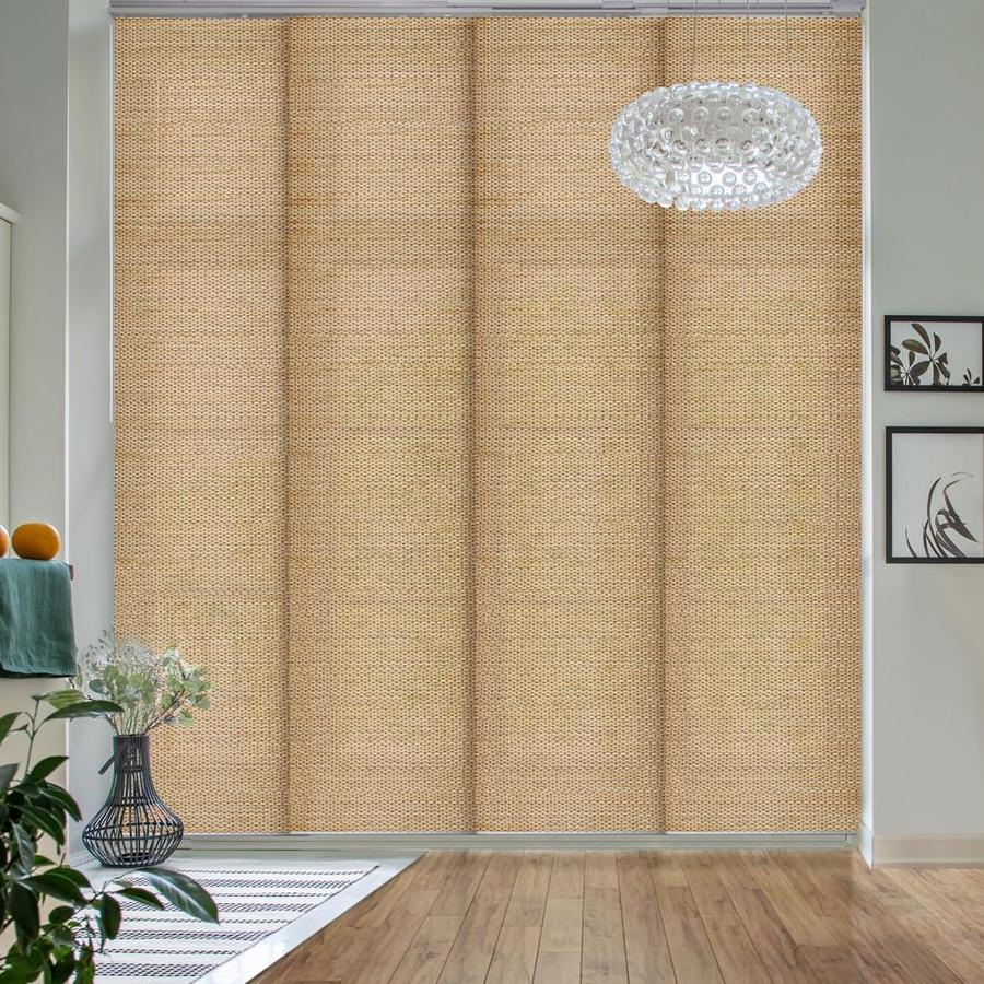 godear design 23 in slat width 86 in x 96 in cordless pecan fabric light filtering full view standard vertical blinds