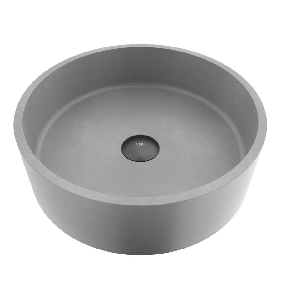 vigo concreto stone gray concrete vessel round bathroom sink 15 375 in x 15 375 in