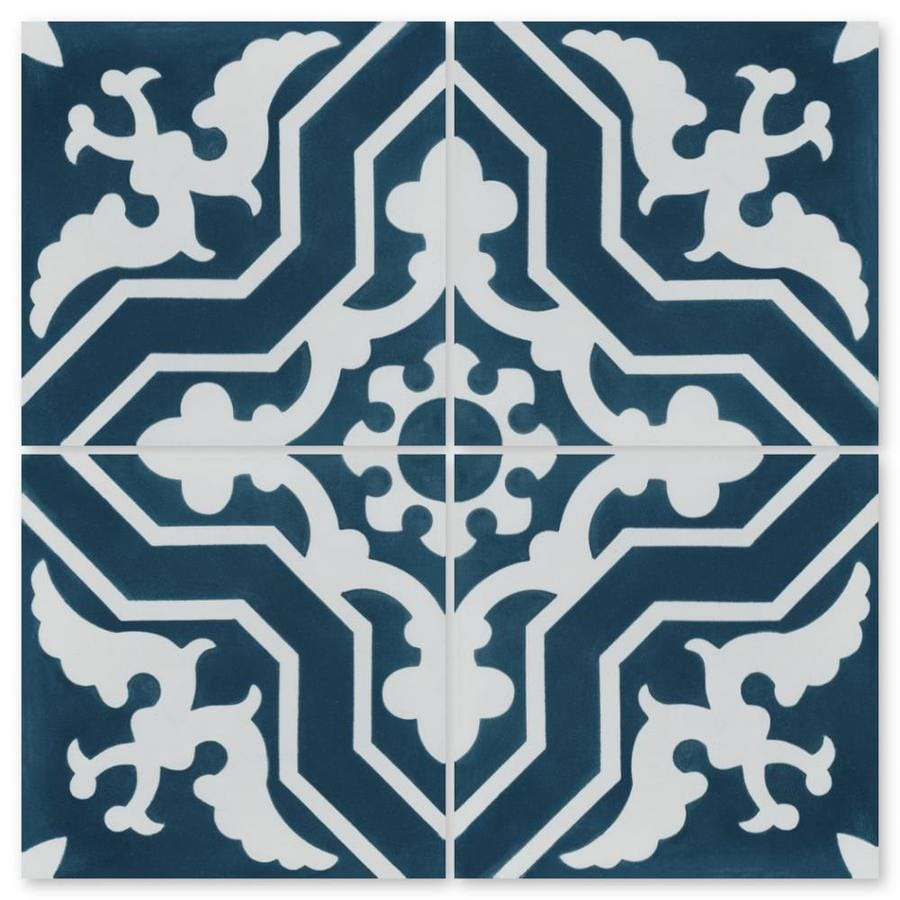 villa lagoon tile talia deep inlet 16 pack 8 in x 8 in unglazed cement patterned floor and wall tile