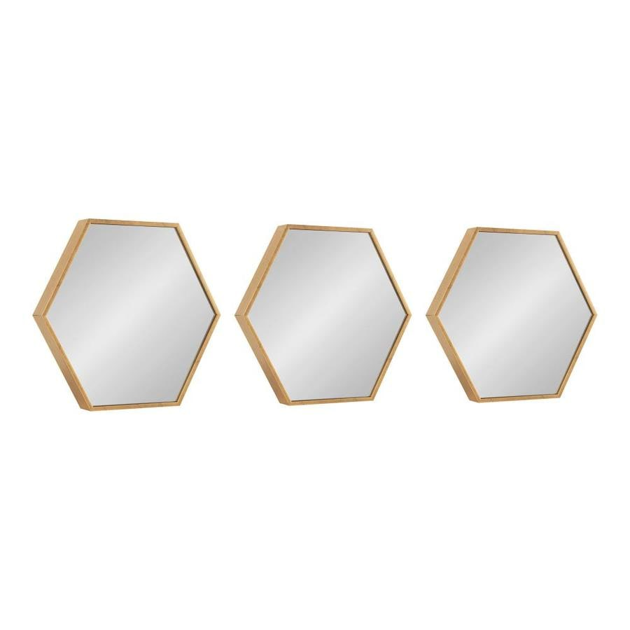 kate and laurel rhodes framed hexagon wall mirror set 3 piece 14x16 gold in the mirrors department at lowes com