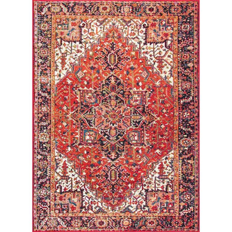 nuloom patrice 10 x 14 orange indoor floral botanical area rug in the rugs department at lowes com