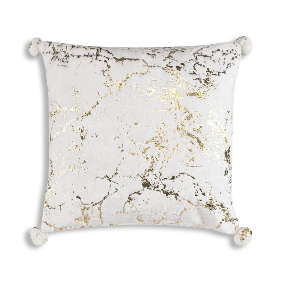 inspire me home decor rami 20 in x 20 in white with gold foil printing faux fur square indoor decorative pillow