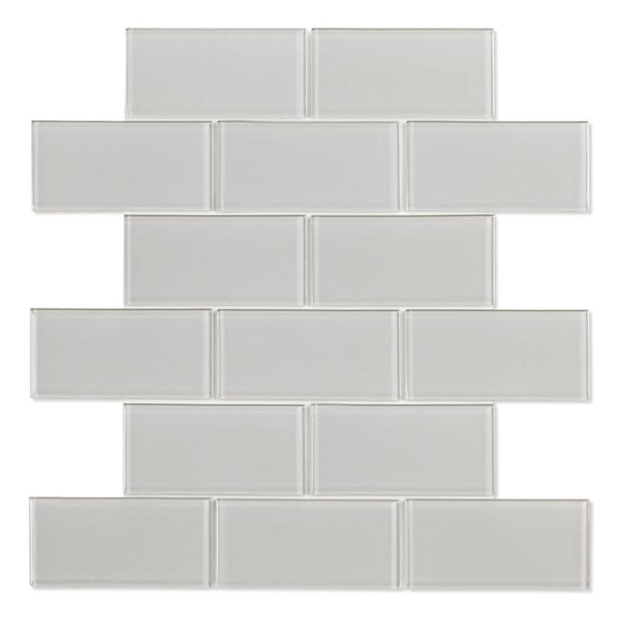 speedtiles shiraz 6 pack light gray 12 in x 12 in glossy glass brick subway peel and stick wall tile