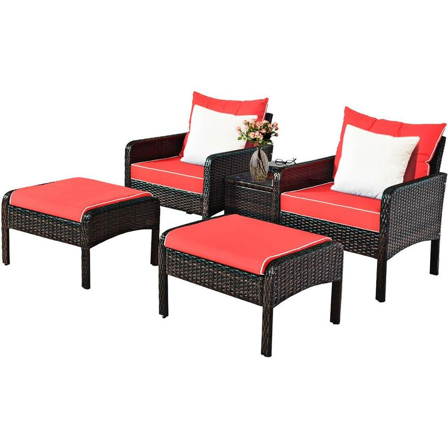 goplus costway 5 piece metal frame patio conversation set with cushion s included