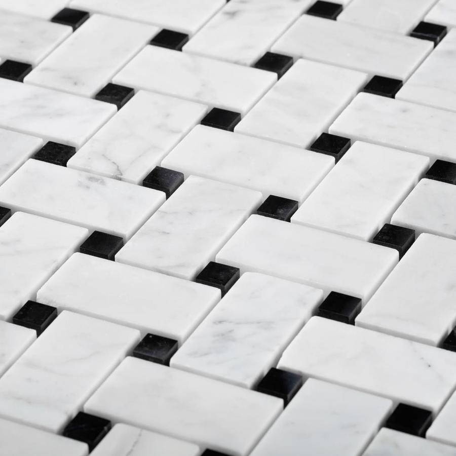 https www lowes com pd apollo tile marbella black and white basketweave marble common actual 12 in x 12 in 5001677319
