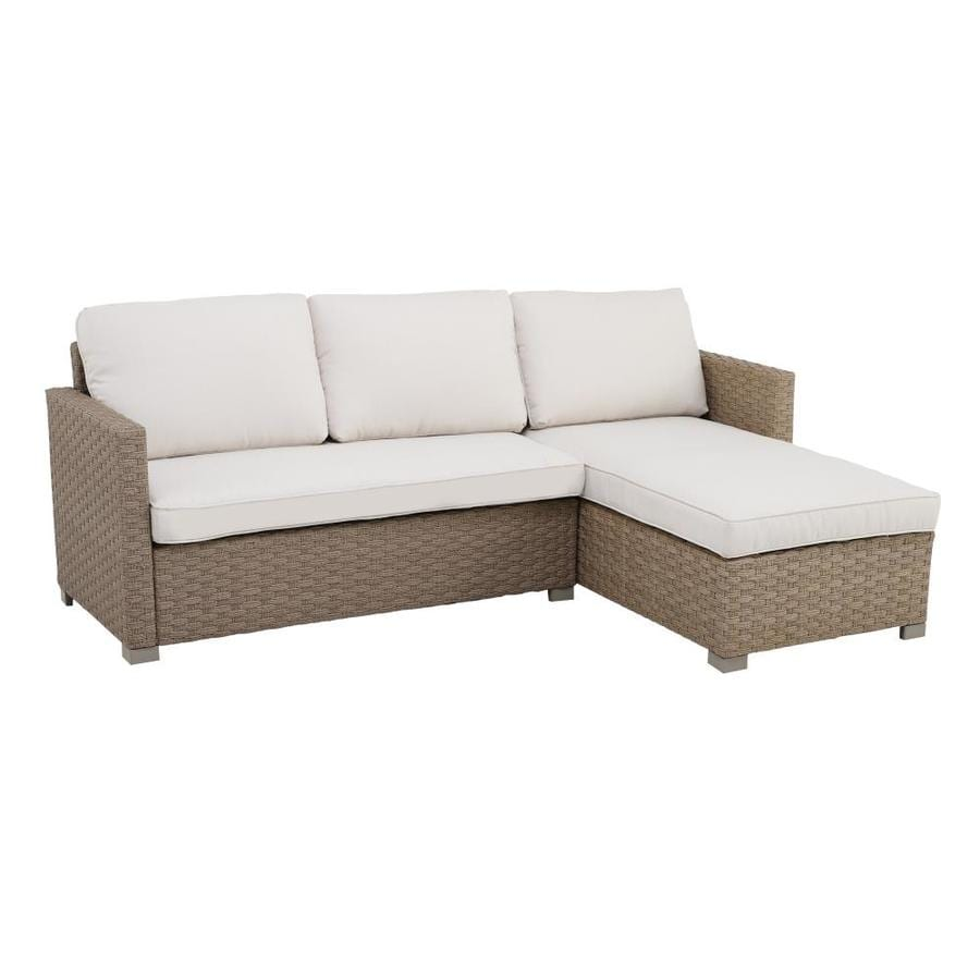royal garden bedford wicker outdoor sectional with cushion s and beige steel frame