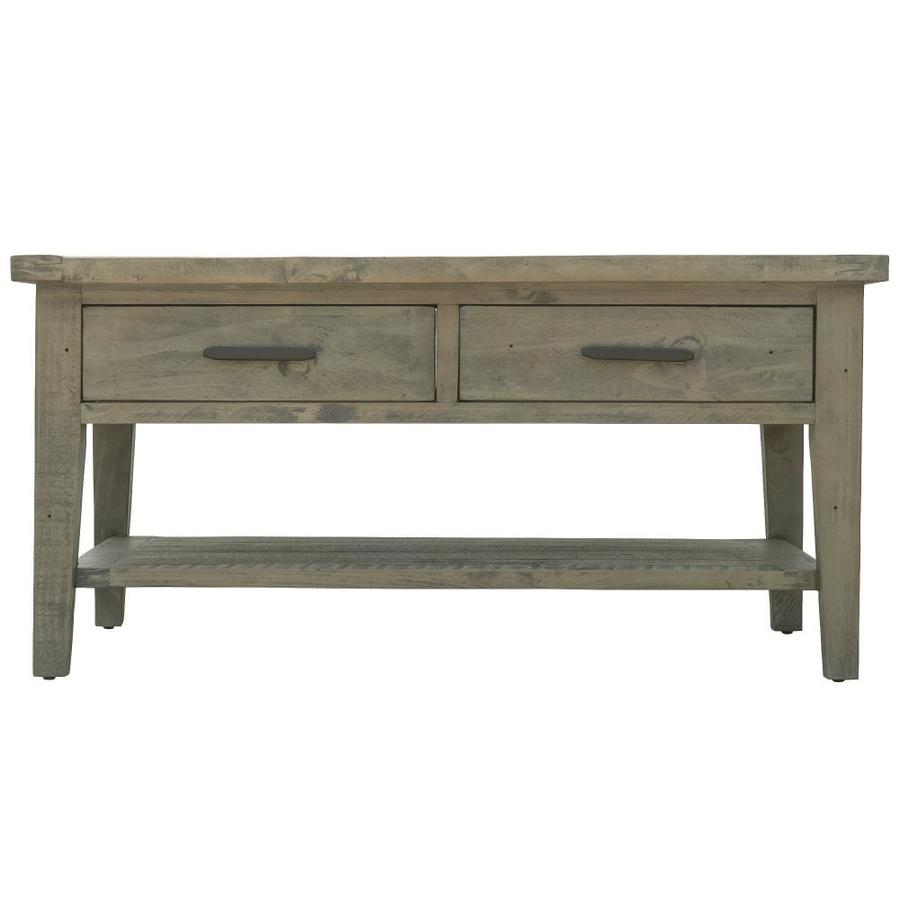 andmakers ashford 40 in reclaimed wood grey coffee table with storage shelf and two drawers at lowes com