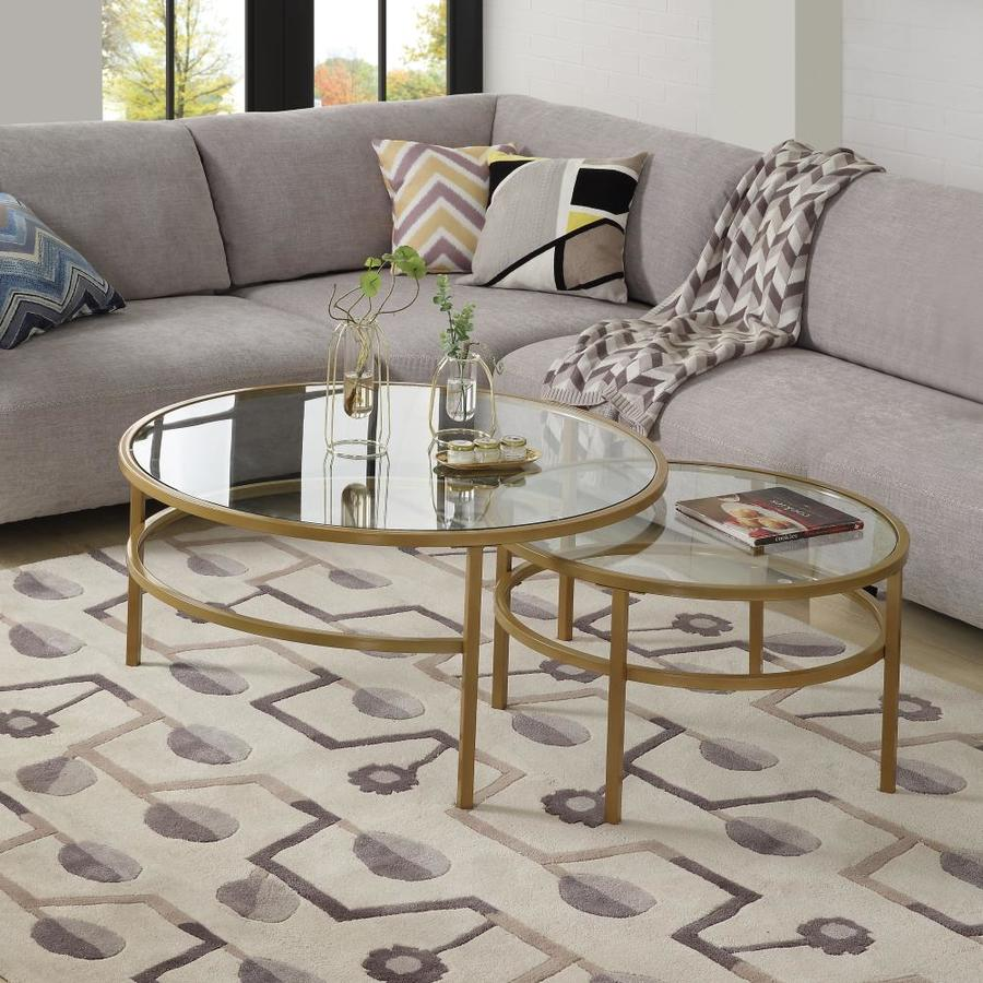 casainc golden crest nesting round 2 piece coffee table set for living room in the coffee tables department at lowes com