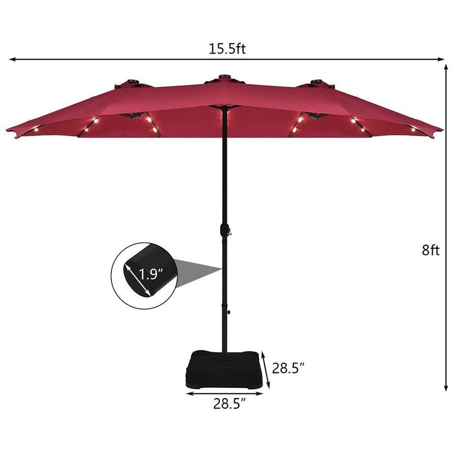 goplus 15 ft solar powered market patio umbrella with base