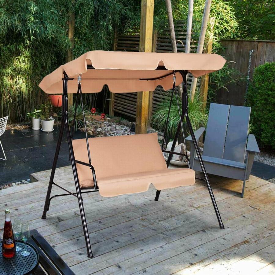 casainc 2 person beige steel outdoor swing