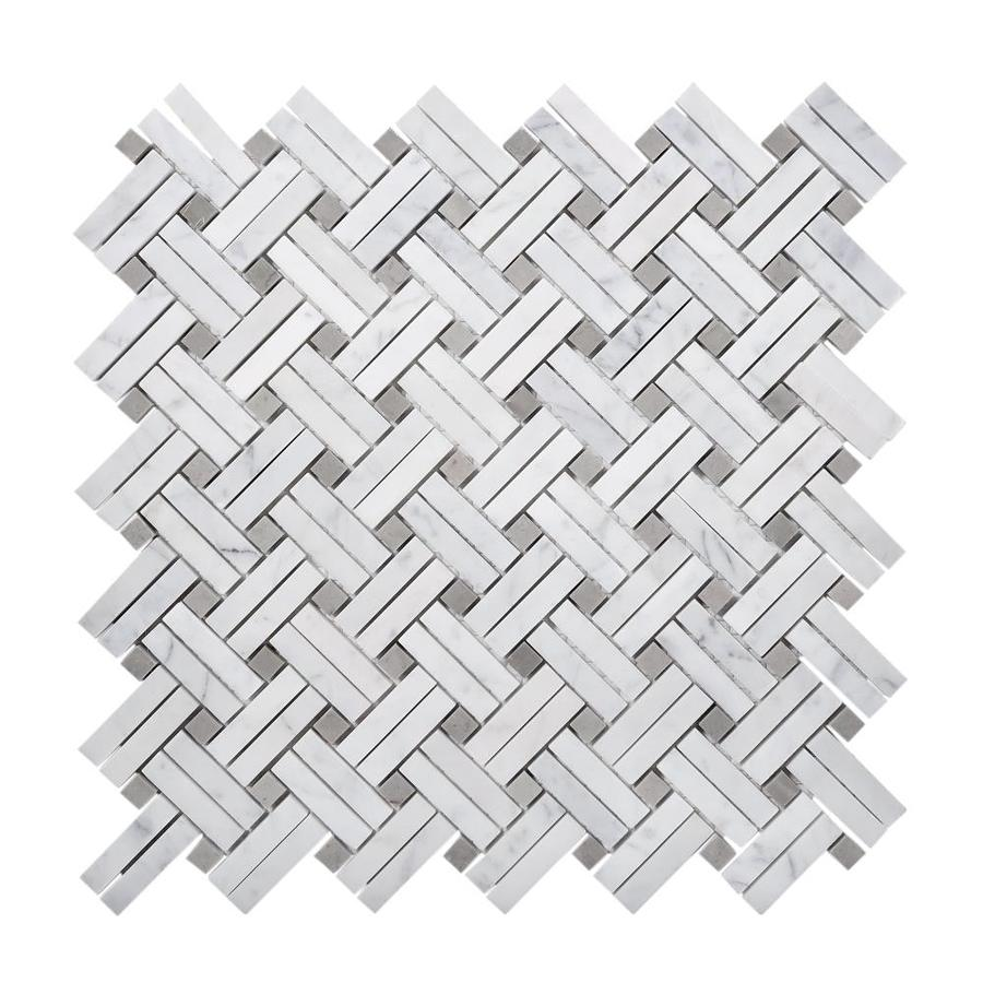 apollo tile 5 pack white beige 11 in x 11 in polished glass metal stone basketweave marble look floor and wall tile in the tile department at lowes com