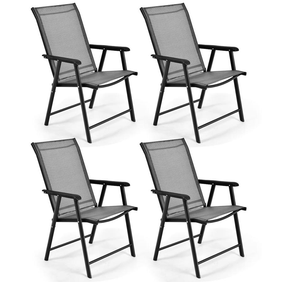 clihome 4 pack outdoor patio portable folding camping textilene chairs
