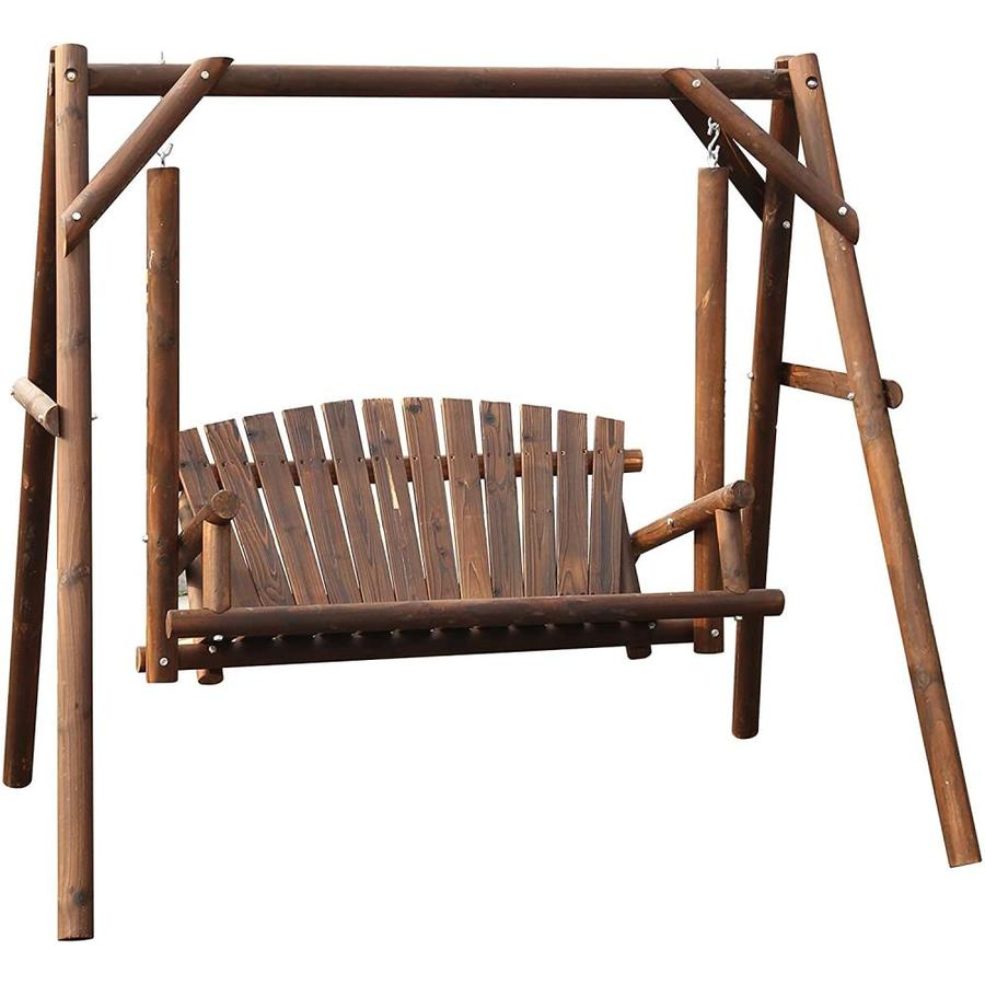 veikous wooden patio porch swing glider outdoor with stand wood log porch swing loveseat with frame for outside yard garden and deck rustic